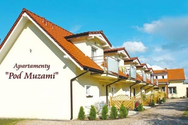 Budynek apartamentu Apartamenty POD MUZAMI z Rewala sfotografowany od strony zewnętrznej.